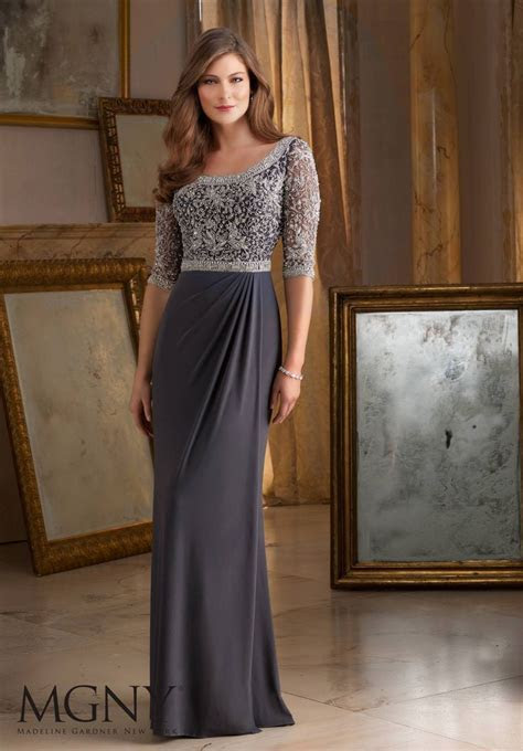 Beautiful and Intricate Beading on Jersey Morilee Evening