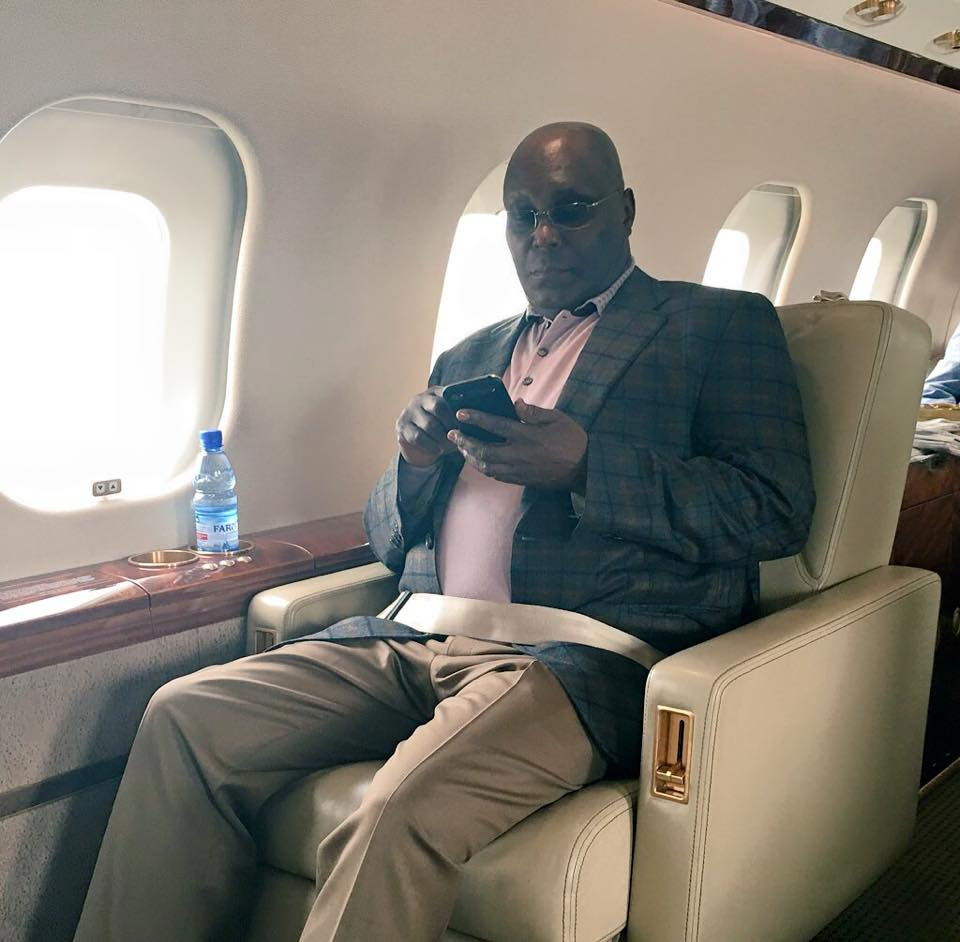 Atiku Abubakar Flies In A Private Jet Ahead Of London Summit . Photo