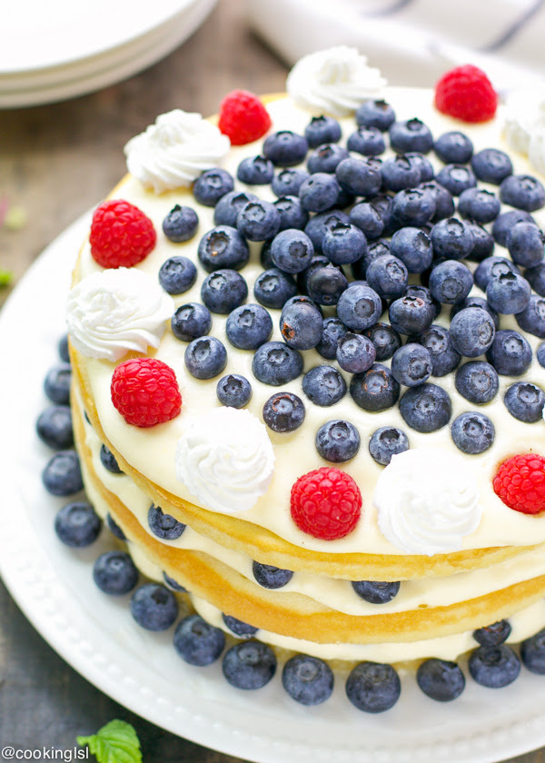 Blueberries And Bavarian Cream Cake Recipe - HMLP 49 Feature