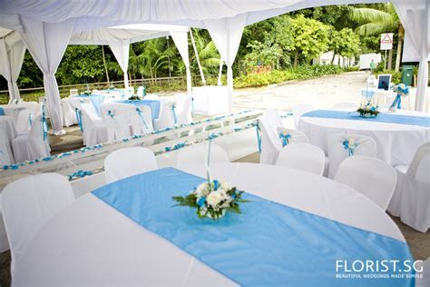Park Wedding Blue White Gazebo Tentage Decor   FLORIST.SG