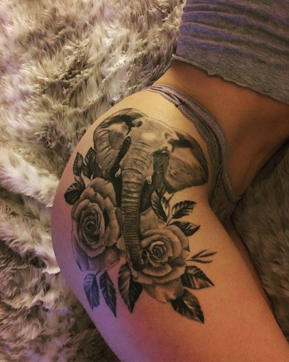 Roses Elephant Hip Tattoo