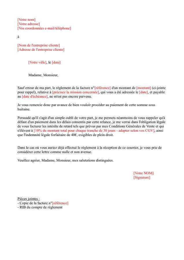 Exemple De Lettre De Rappel De Paiement - Exemple de Lettre