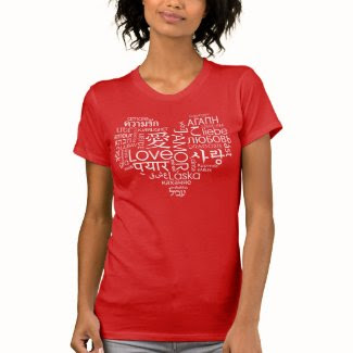 Languages of Love Heart T Shirts