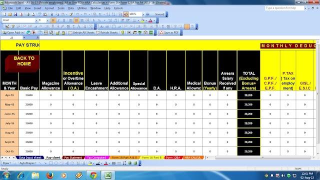 income tax calculator excel form calculation income tax