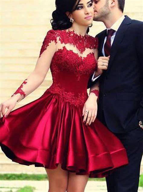 elegant   crew long sleeves short dark red lace prom
