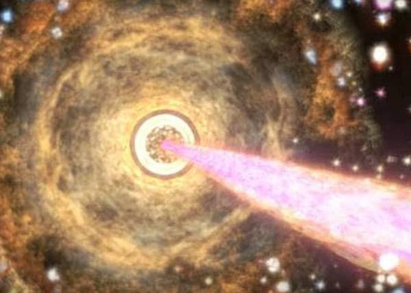 Rappresentazione artistica del getto di materia espulso dal buco bero che si trova al centro  della galassia PKS B1424-418 (fonte:  NASA's Goddard Space Flight Center)