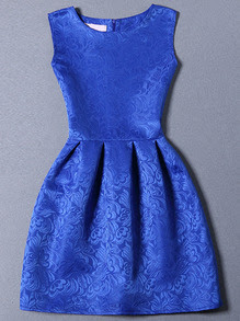 Blue Sleeveless Jacquard A-Line Dress