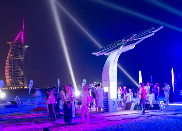 One of the first Smart Palm trees has been installed on the beach front near to the Burj Al Arab in Dubai