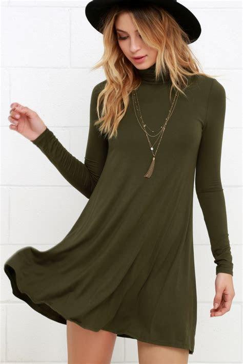 Chic Olive Green Dress   Swing Dress   Long Sleeve Dress