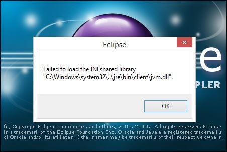 Solved: Eclipse wont start error \u201cFailed to load JNI