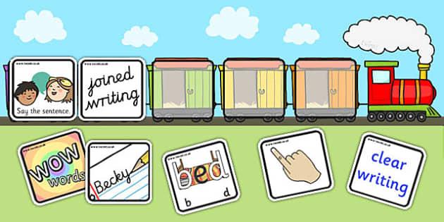 Editable Writing Target Cards Train - writing targets, writing