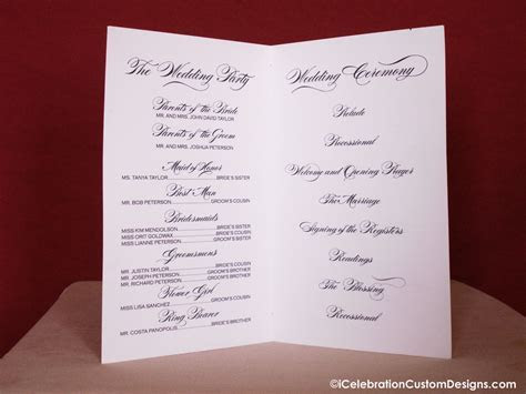 Printable Calligraphy Wedding Program   iCelebration