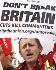 Union worker protesting against spending cuts