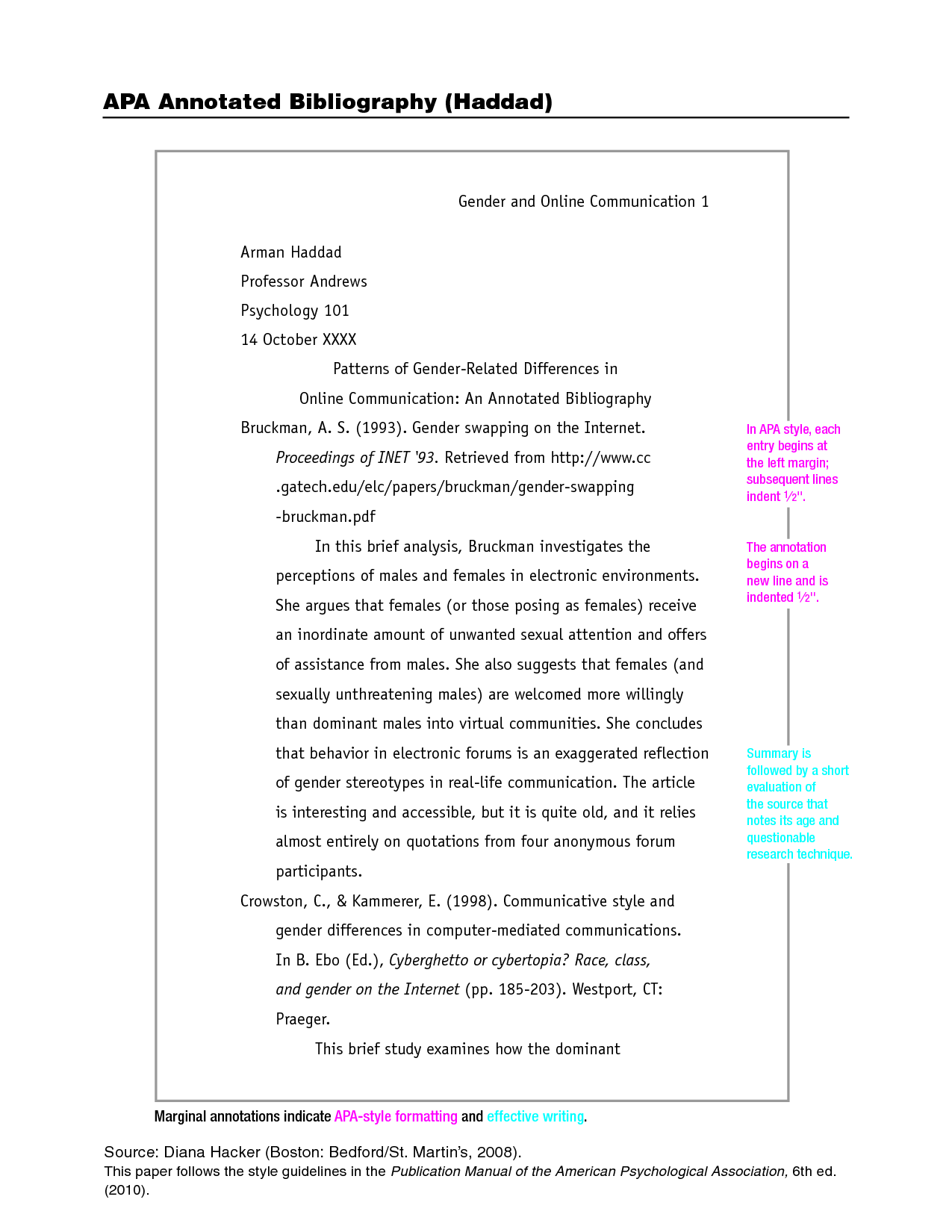 how to write a short essay in apa format
