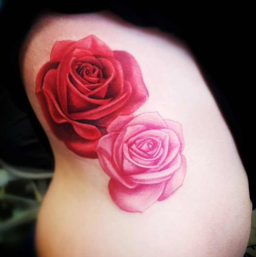 Traditional Red And Pink Rose Tattoo Tattoomagz