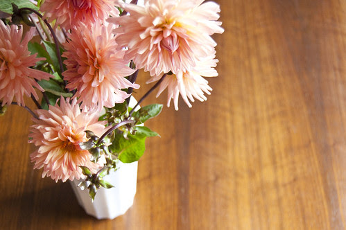 dahlias, milk glass