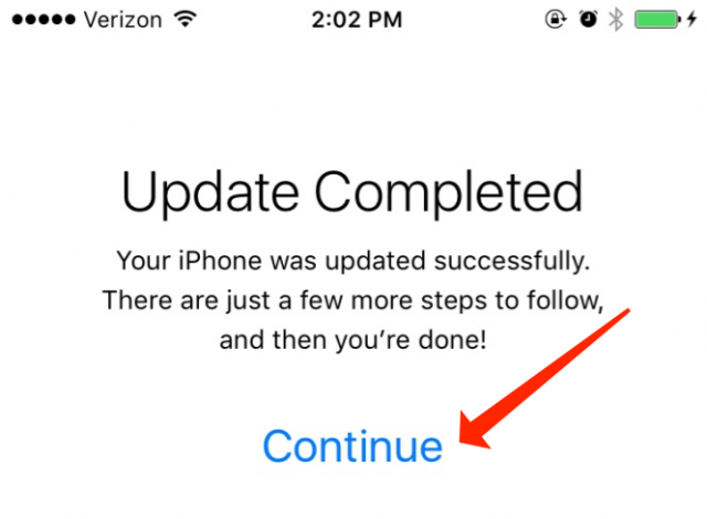 iOS Update Completed