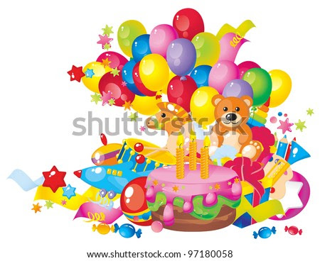 Childrens Birthday Cakes on Children S Birthday  Toys  Birthday Cake  Balloons And Gift Boxes
