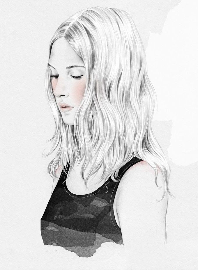 Le Fashion Blog Beauty Post Gym Hair Inspiration Soft Beachy Waves Center Part  Hairstyle Esra Roise Illustration Via Urban Outfitters