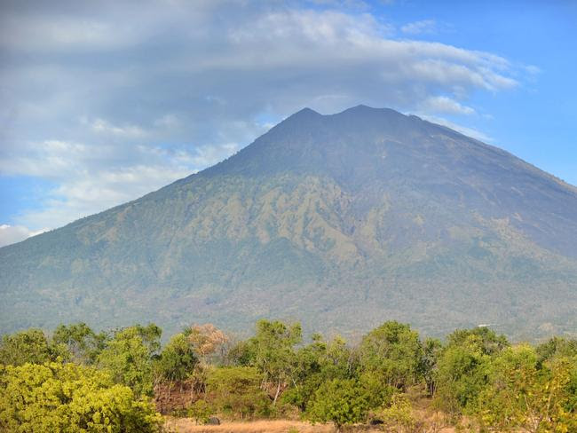 A general view shows Mount Agung from Karangasem on the Indonesian resort island of Bali. Picture: AFP