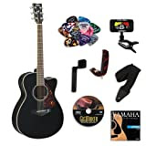 Yamaha FSX730SC Black Small Body Acoustic-Electric Guitar Bundle w/Legacy Acc Kit (Tuner,DVD and More)