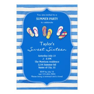 Summer Flip Flops Sweet Sixteen Invitation