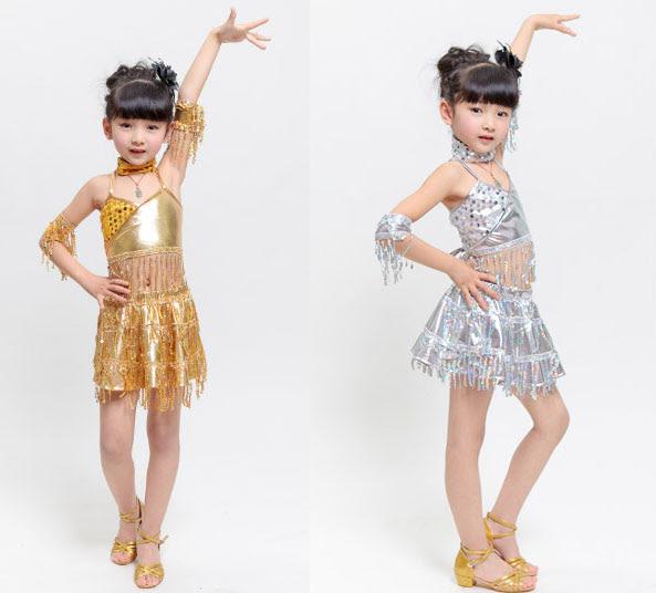 Plata vestido de baile latino para las muchachas del Paillette del oro vestidos Salsa de oro