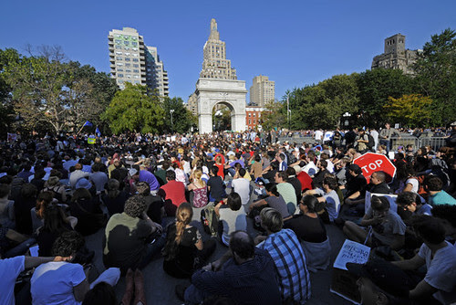 Thousands joined a march and rally in Washington Park in New York as part of the Occupy Wall Street movement. On October 8 thousands were still staying in a park near the financial district. by Pan-African News Wire File Photos