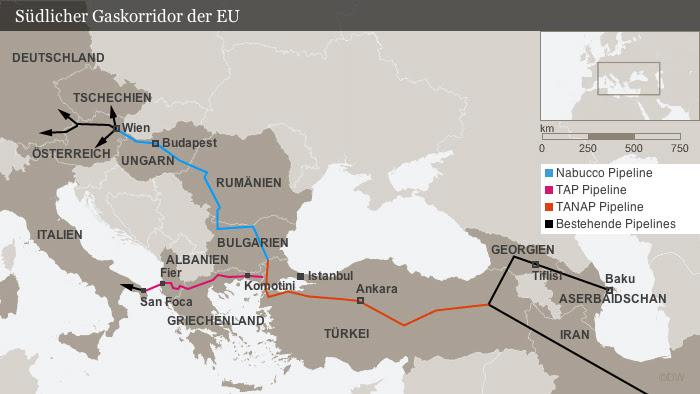 Infografik Südlicher Gaskorridor der EU
