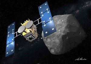 An artist's concept of Japan's Hayabusa 2 spacecraft exploring an asteroid.