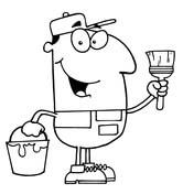 Dibujo De Trabajador De La Construcción Con Un Martillo Y Una Caja