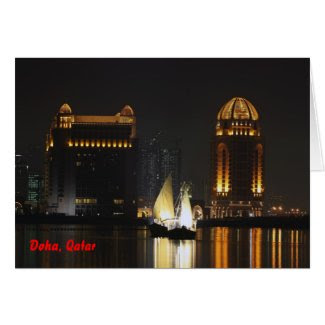 Dhows in West Bay, Qatar card