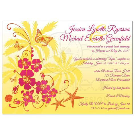 Post Wedding Reception Invitation   Yellow, Fuchsia