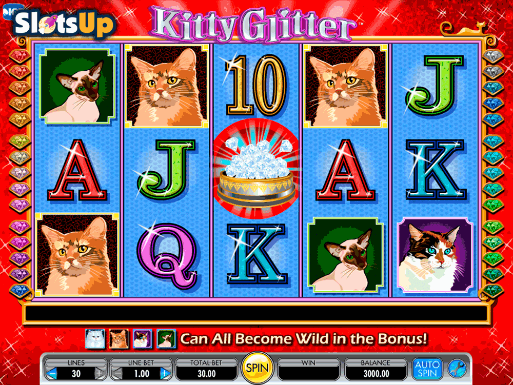 Free Spin Bonus Offers; Playing Kitty Glitter slots for real money is, imo, more fun than the free version.That doesn't seem to apply to all slots, but with this one it does.At least, for me.You can play Kitter slots for real cash if you are in the UK and some European casinos, but alas, it is not available for cash play in the USA.