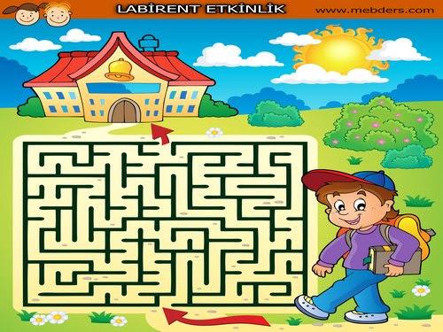 Okula Giden öğrenci Labirent Bulmaca Etkinliği Meb Ders