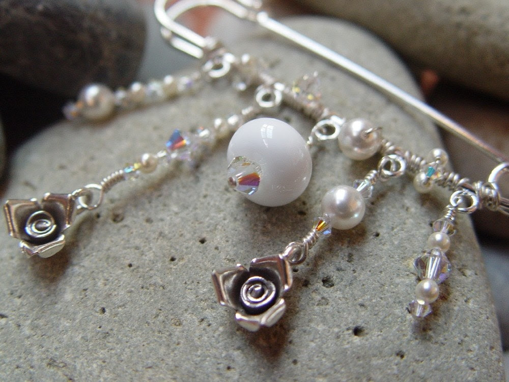 Frostwind Fine Silver and Swarovski Pearl Brooch Pin.