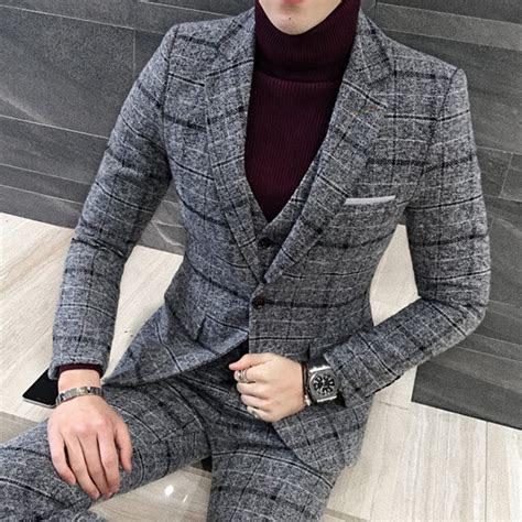 piece suit set men tuxedos british men suits winter