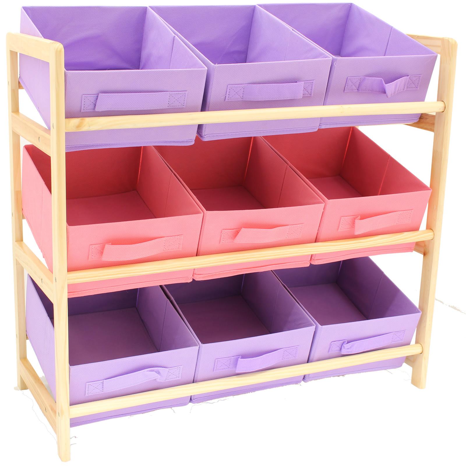 Hartleys 3 Tier Storage Shelf Unit Kids Childrens Bedroom ...