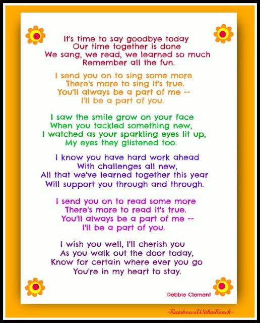 End of Year Poem by Debbie Clement FREEBIE #EOY #Kinderchat #EndofYear
