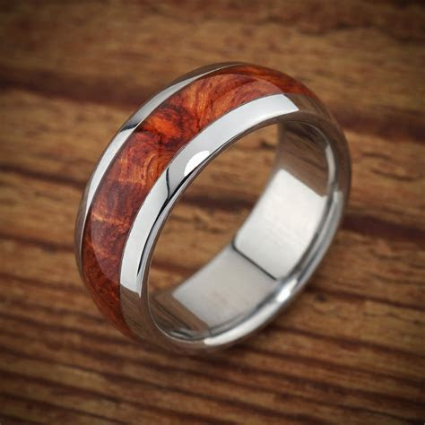 Titanium Wood Wedding Band Amboyna Men's Ring