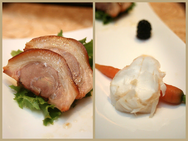 Individual serving portion of Marinated Pig's Knuckle with Pickles wrapped in Lettuce; and Cold Lobster in Teochew style