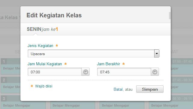 PANDUAN PENGATURAN JADWAL KELAS MINGGUAN PADAMU NEGERI 2015
