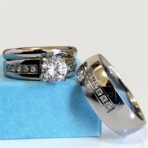 Wedding Ring Set His and Hers Match Bands Mens Womens
