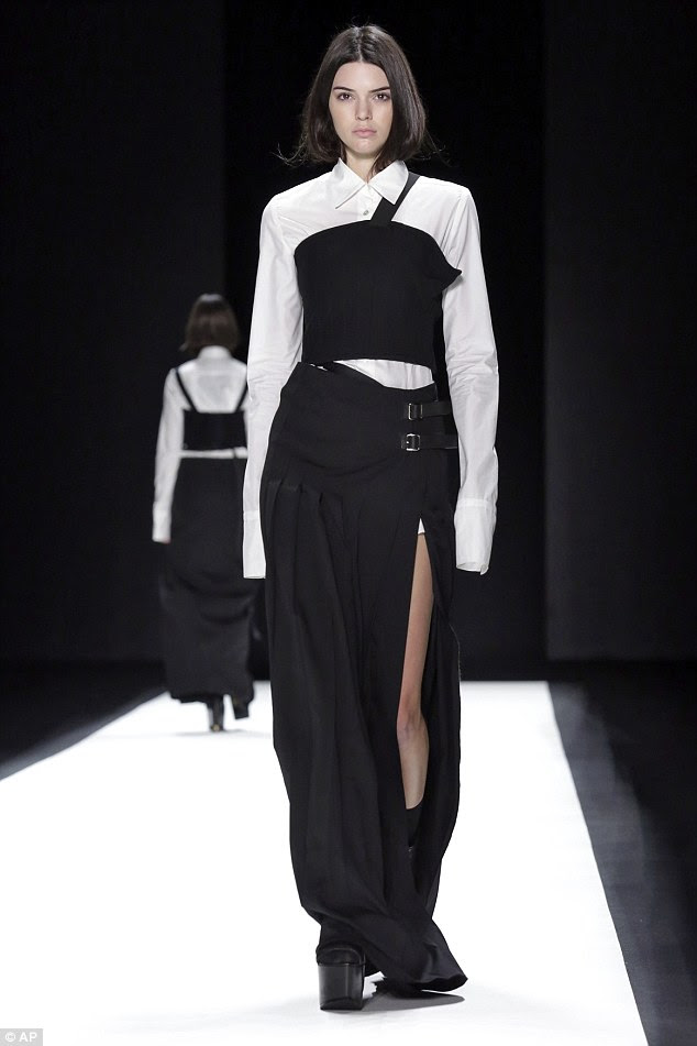 With clothes ON: Also on Tuesday the mannequin was seen walking in the Vera Wang show in NYC