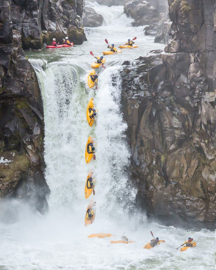 Kayak Waterfall Drop - Action Sequence Composite by Leigh Anderson, via 500px