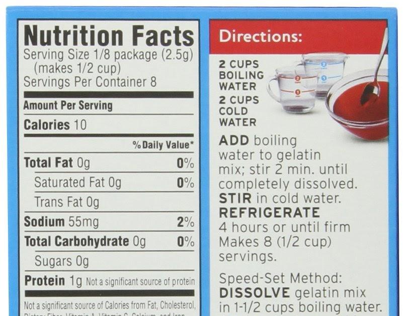 Sugar Free Fat Free Jello Nutrition Facts Nutritionwalls