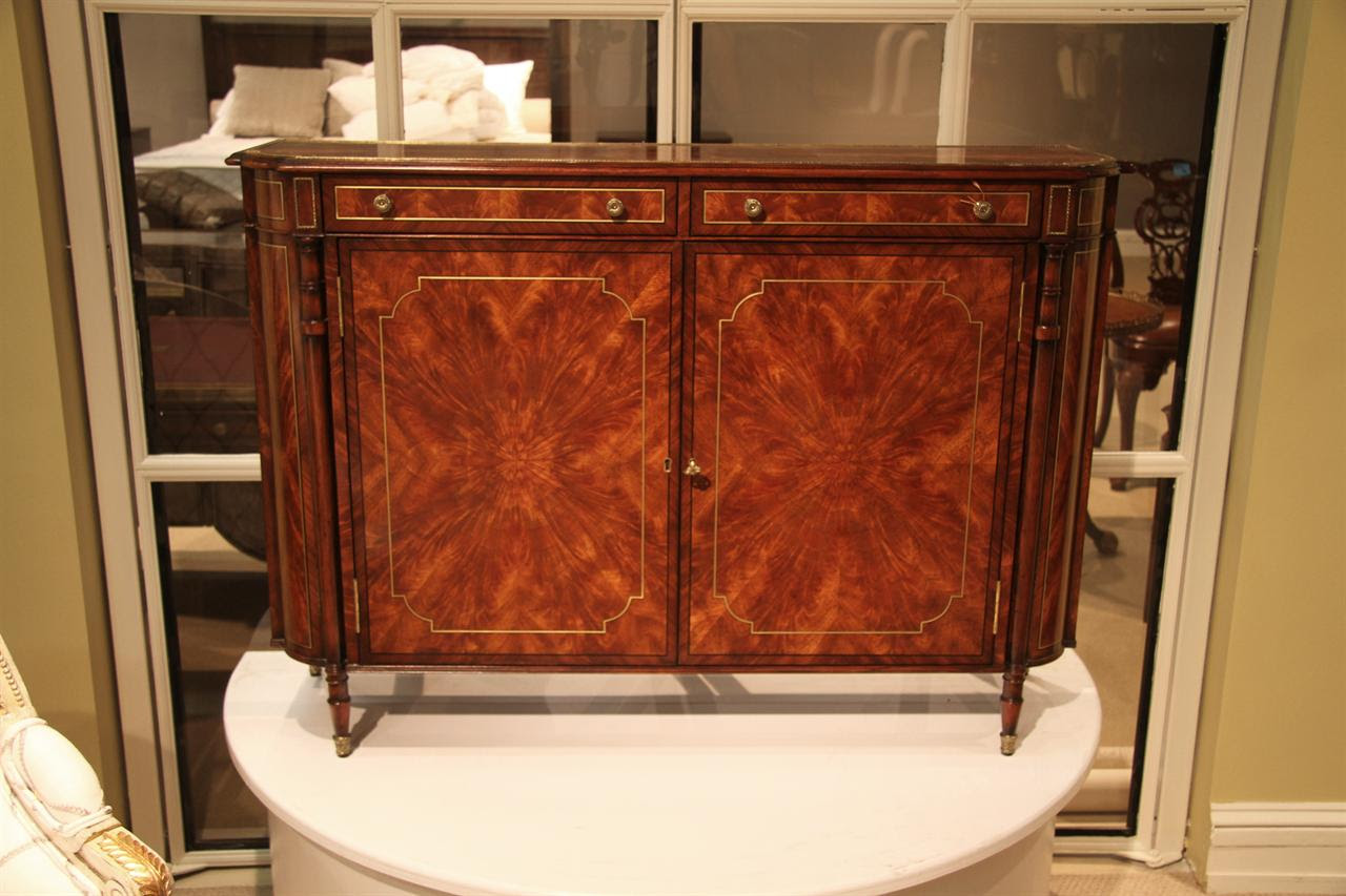 Narrow Mahogany Regency Buffet or Console Table with Brass ...