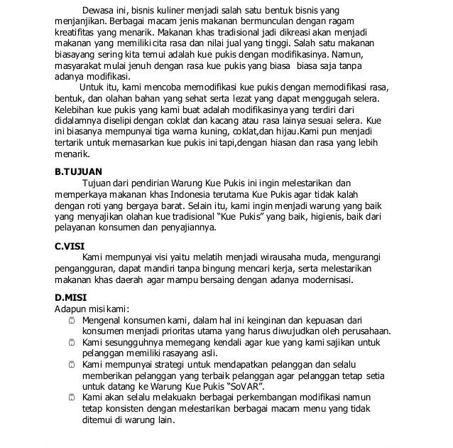 Contoh Proposal Usaha Makanan Singkat - Contoh Makalah ...