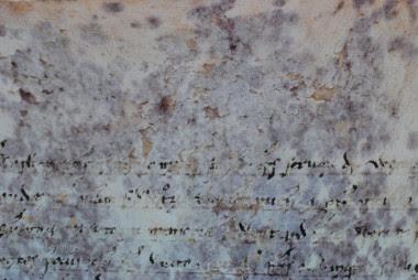 <p>Manchas moradas presentes en el pergamino preservado en los Archivos Secretos del Vaticano. /G. Vendittozzi</p>