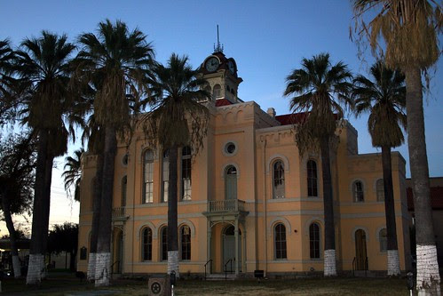 maverick county courthouse at sundown